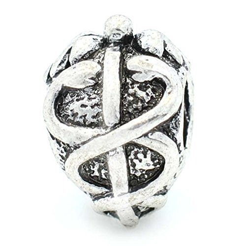 Pro Jewelry Rod of Asclepius Medical Symbol Charm Bead Compatible with European Snake Chain (Pandora Compatible Bead Bracelet)