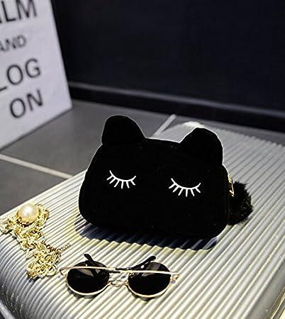 Trousse /à Stylo ou /à maquillage en velours en forme de chat mignon Noir NOVAGO