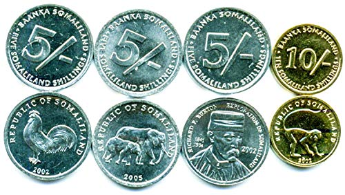 Somaliland 4 UNC Coins Set 5 SHILLINGS - 10 SHILLNGS Old Collectible Coins 2002-2005 (Set Elephant Coin)