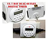 7 Day Dual Outlet Switch Digital Electric Light On Off Timer 15A 1725W UL LISTED