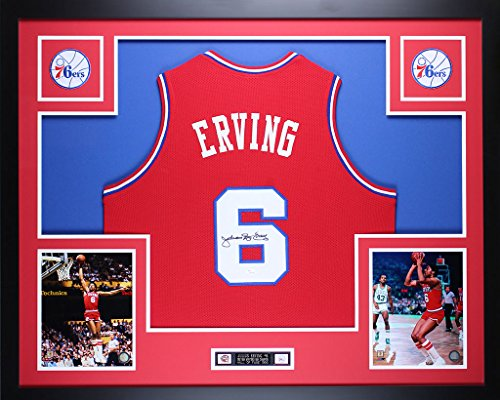 Erving Hand Signed - Julius Dr. J Erving Autographed Red 76ers Jersey - Beautifully Matted and Framed - Hand Signed By Julius Dr. J Erving and Certified Authentic by JSA COA - Includes Certificate of Authenticity