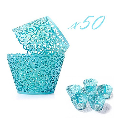 WOMHOPE 50 Pcs - Vine Cupcake Wrapper Liner - Cupcake Wrappers Muffin Cup Wrapper Packaging Solid Blue Laser Cut Lace for Wedding,Party,Baby Shower,Children Birthday (Solid Blue)