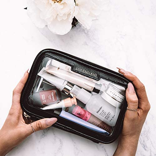 Lily England Neceser Transparente Organizador de Maquillaje para Viajar - Pequeño Estuche de Cosméticos para el Aeropuerto - Negro y Dorado: Amazon.es: Belleza