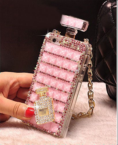 Diamond Perfume Bottle - Sasa(TM) iPhone 7 plus Case ,Fashion Bonzer Bling Diamond Crystal Perfume Bottle Chain Handbag Case Cover for iPhone 7 plus (5.5inch) (Pink)