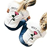 KESEE Clearance Fashional Rose Blouse Women Letters Printed T Shirts Causal Tops: Best Friend (M, White A)
