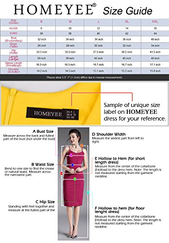 Homeyee® Vestido elegante ajustado de manga larga, volantes y cinturón para mujer UKB267 Rosso