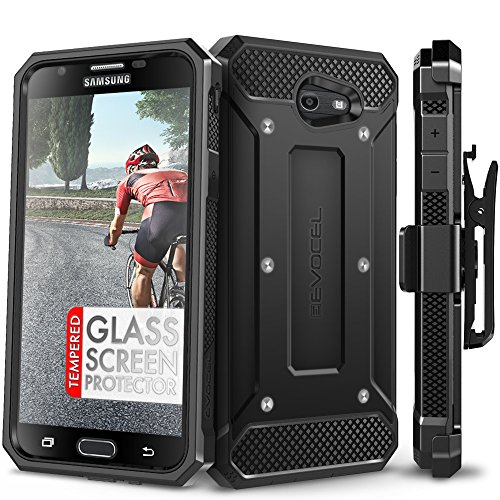 Galaxy J7 Prime/ J7 V / J7 2017 Case, Evocel [Explorer Series] with Free [Glass Screen Protector] Premium Full Body Case [Belt Clip] for Galaxy J7 Perx/Galaxy Halo / J7 Sky Pro/SM-J727, Black