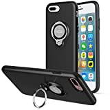 iPhone 8 Plus Case, iPhone 7 Plus Case, ICONFLANG 360 Degree Rotating Ring Kickstand Case Shockproof Impact Protection [Support Magnetic Car Mount Case] for iPhone 8 Plus / 7 Plus (2018) - Black