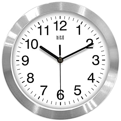 hito Modern Silent Wall Clock Non Ticking 10 inch Excellent Accurate Sweep Movement Aluminum Frame Glass Cover, Decorative for Kitchen, Living Room, Bedroom, Bathroom, Bedroom, Office (Silver) - hito non ticking wall clock uses superior sweeping movement to guarantee true silence with the smooth second hand, time accuracy and stable performance in its long life. hito sells truly silent clocks. hito white wall clock in silver comes with large black numbers and hands. And yes, glass front cover. All this makes hito wall clock beautiful, stylish and easy to read. hito modern silent wall clocks also serve as kitchen, living room, bathroom, bedroom and office wall decor. - wall-clocks, living-room-decor, living-room - 51G9xLNQScL. SS400  -