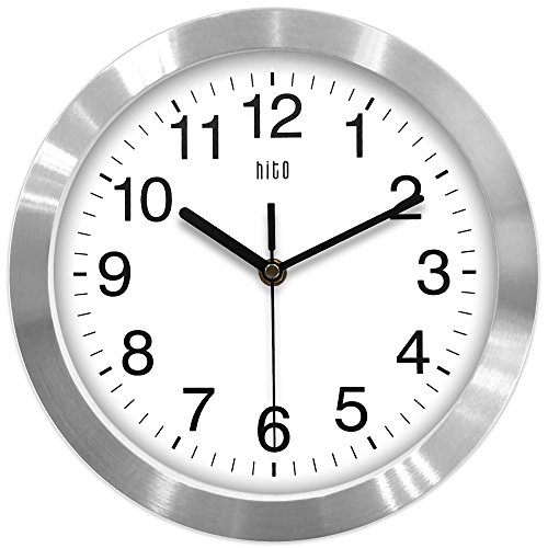 - hito Modern Silent Wall Clock Non Ticking 10 inch Excellent Accurate Sweep Movement Aluminum Frame Glass Cover, Decorative for Kitchen, Living Room, Bedroom, Bathroom, Bedroom, Office (Silver)