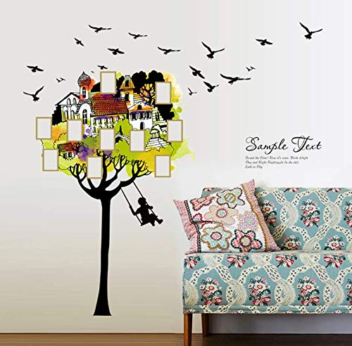 Wall Stickers Creative Birds Tree House Building Photo Frame Wall Stickers Living Room Bedroom Entrance Decoration PVC Removable Mural Decals