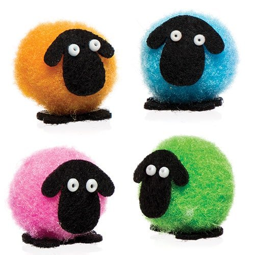 Baker Ross Mini Pom Pom Fluffy Sheep for Children to Design Make and Decorate - Creative Easter Craft Set for Kids (Pack of 10)