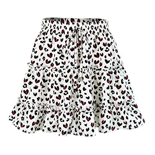 Women High Waist Frills Skirt Broken Flower Half-Length Printed Beach A Short Mini Skirts New 1 L ()