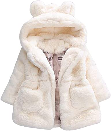 Fur Jacket Cute Baby Infant Warm Thick Girls Kids Winter Hooded Clothes Coat