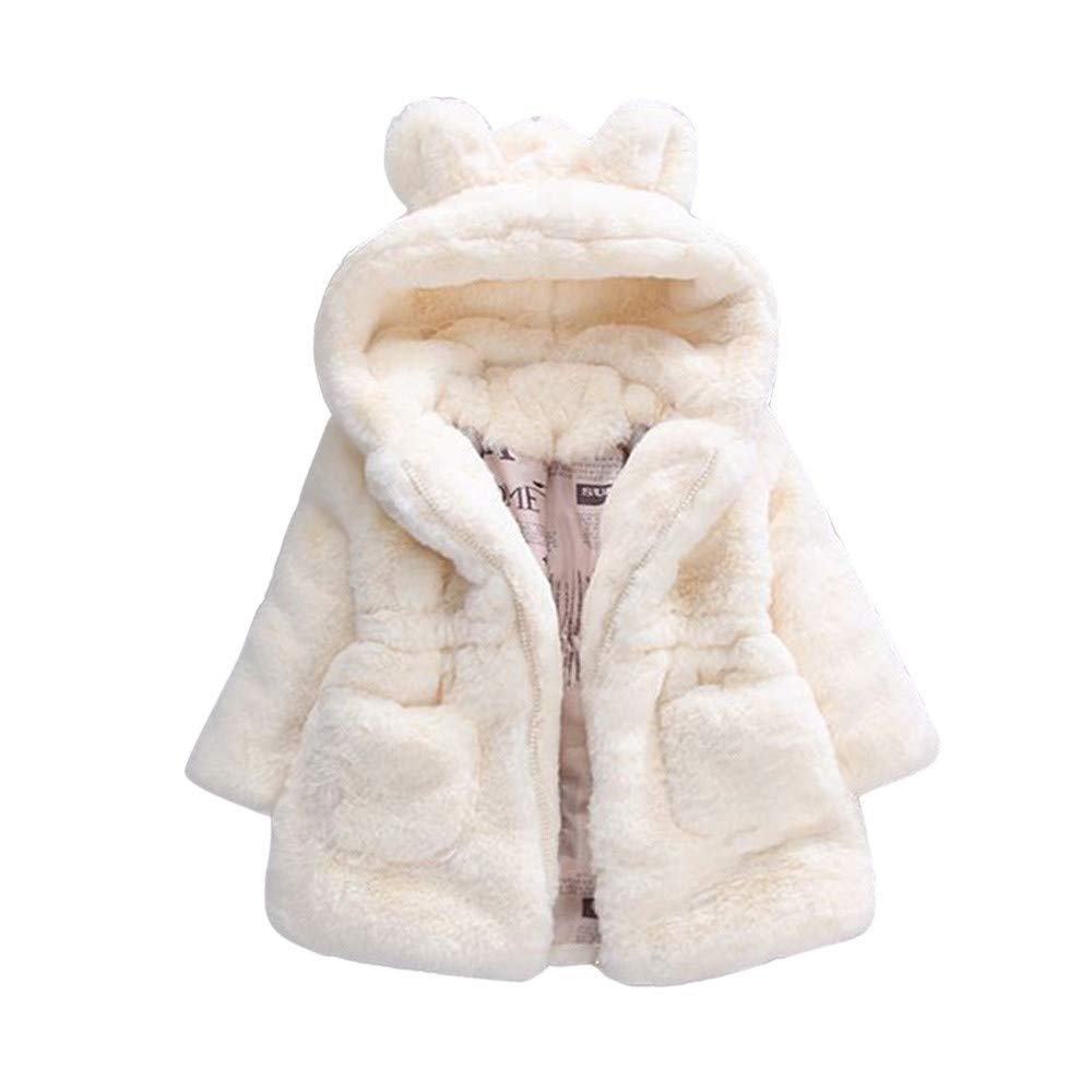 Fur Winter Warm Coat for Baby Girls Infant Snowsuit Jacket Cloak Thicken Hood Outwear Clothes (5-6 Years, Beige) by sweetnice baby clothing