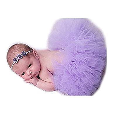 Coberllus Unisex Newborn Girls Photo Photography Prop Tutu Skirt Headband Outfits (Light Purple): Clothing