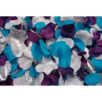 Amazon 300pc mixed color rose petals purple malibu turquoise 300pc mixed color rose petals purple malibu turquoise white silver wedding table junglespirit Image collections