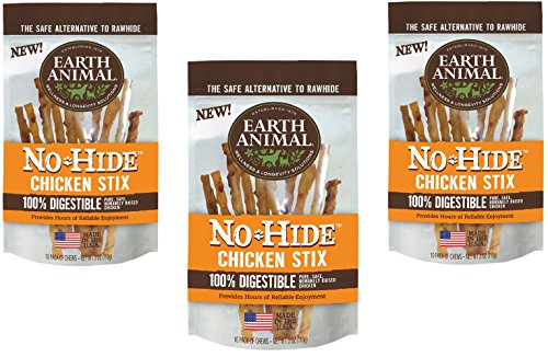 (30-Count Earth Animal No-Hide Chicken Stix (3 Packs with 10 Stix Each))