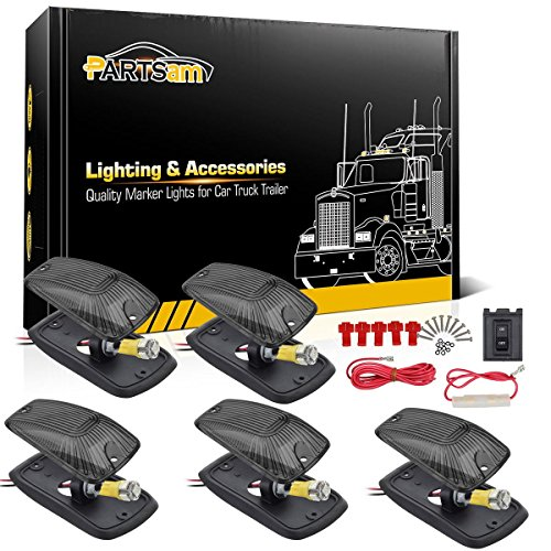 Partsam 5PCS Smoke Amber LED Cab Marker Light + Wiring Compatible with Chevrolet/GMC C1500 C2500 C3500 K1500 K2500 K3500 1988-2002 Pickup Trucks ()