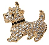 Scottish Terrier Westie Brooch Pin 1.5'' with Detailed Crystal Accents (Gold Tone)