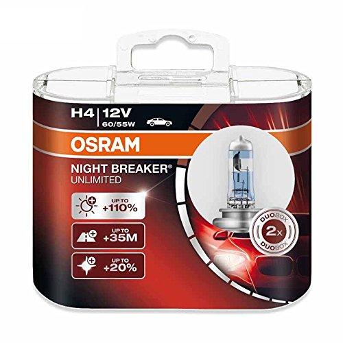 Osram H4 9003 12V 60/55W 64193NBU NIGHT BREAKER UNLIMITED Car Hi/lo Beam Halogen Headlight 2X
