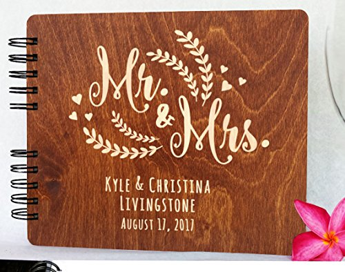 Traditional Guest Book - Personalized Wedding Guest Book Mr Mrs Wooden Rustic Vintage Bridal Black Mahogany Oak or Cocoa Unique Wood Hardcover Finish Options