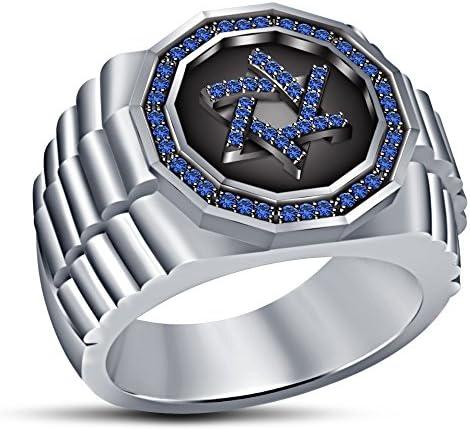 حلقه نامزدی مردان Vorra مد ستاره یهودی دور برش آبی یاقوت کبود آبی پلاتین سفید