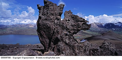 Close-up of a rock formation at the lakeside, Iceland 30x40 photo reprint by PickYourImage