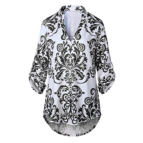 7effee2df3 85%OFF ETCYY Women s Casual V Neck 3 4 Cuffed Sleeve Floral Loose Blouse