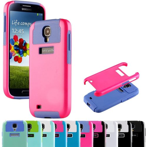 "myLife Cyan and Purple - Classy Design (2 Piece Hybrid Bumper) Hard and Soft Case for the Samsung Galaxy S4 ""Fits Models: I9500, I9505, SPH-L720, Galaxy S IV, SGH-I337, SCH-I545, SGH-M919, SCH-R970 and Galaxy S4 LTE-A Touch Phone"" (Fitted Back Solid Cover Case + Internal Silicone Gel Rubberized Tough Armor Skin)"