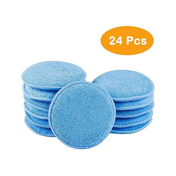 CARCAREZ-24pcs-Microfiber-Applicator-Pad-for-Car-Waxing-Blue