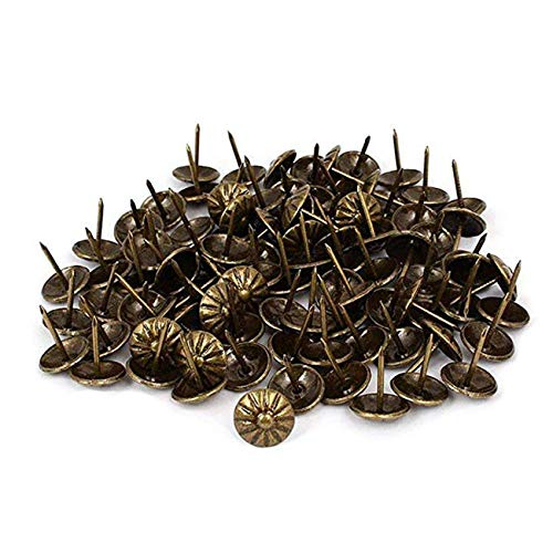 LICTOP Upholstery Tack Hammer,Trim Nails Thumb Push Pins Nailhead for Decorative Furniture,150 Pcs
