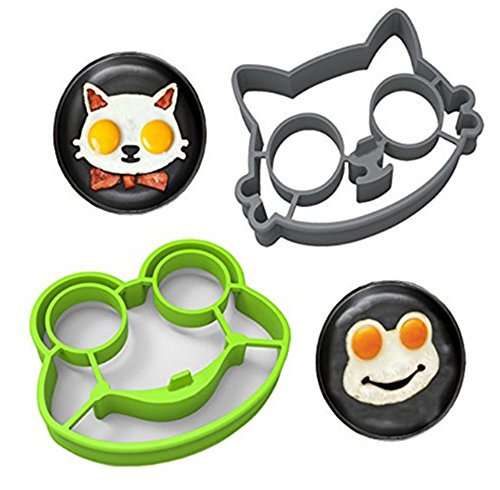 HS 1set Gray Cat Green Frog Shaped Silicone Fried Egg Mold Pancake Rings Cooking Tools (Poacher Egg Shaped)