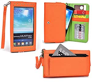 Xolo Q1000S, Q2000 Wallet Wristlet Clutch With Hand Strap and Credit Card Slots| Electric Orange & Fresh Lime Green