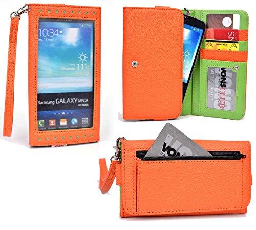 Smartphone Wallet fits Samsung Galaxy Player 5.8 (YP-GP1)   Orange & Lime Crime