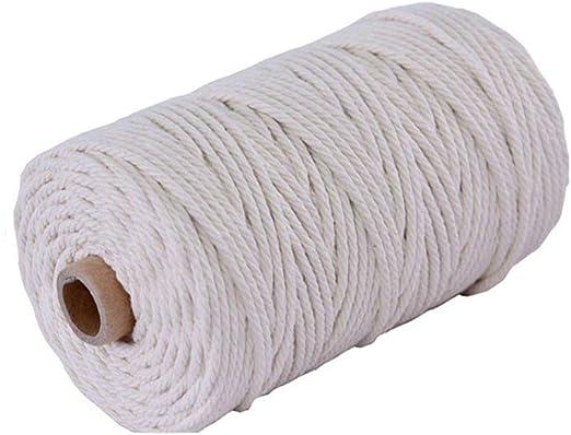WopenJucy Cuerda Cordel de Algodón Hilo Macramé 3 mm de diámetro ...