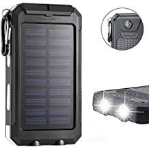 F.Dorla 20000mAh Power Bank Solar Charger Waterproof Portable External Battery USB Charger Built in LED light with Compass for iPad iPhone Android cellphones, 9 Colors Avaliable (Black-white)