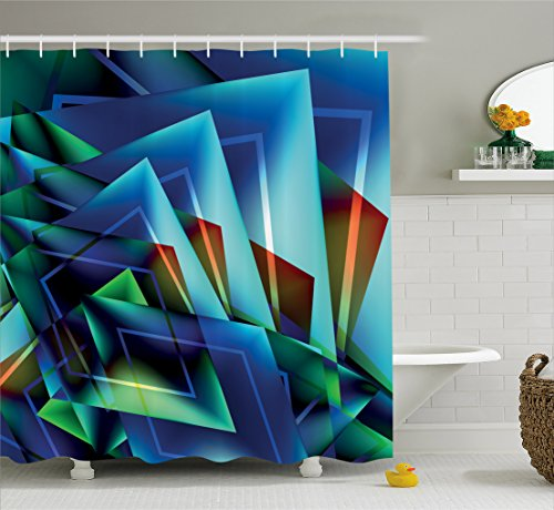 Abstract Shower Curtain by Lunarable, Fractal Digital Mosaic Pattern with Radiant Triangles Print, Fabric Bathroom Decor Set with Hooks, 105 Inches Extra Wide, Navy Blue Teal Turquoise Bronze (105 Old Bronze Tub)