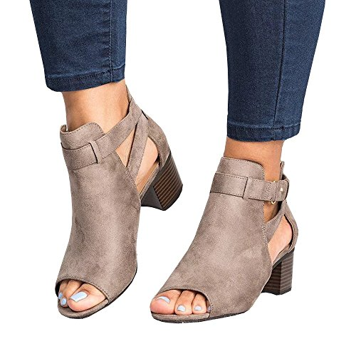 - SySea Womens Low Heel Ankle Buckle Boots Slip On Cut Out Wedge Block Stacked Peep Toe Platform Ankle