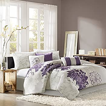 Image of 7 Piece Cal King, Stunning Romantic Floral Pattern Comforter Set, Contemporary Mid-Century Romantic Flower Printed Design, French Country Bouquet Themed, Gorgeous Bedding, White, Purple, Grey Color