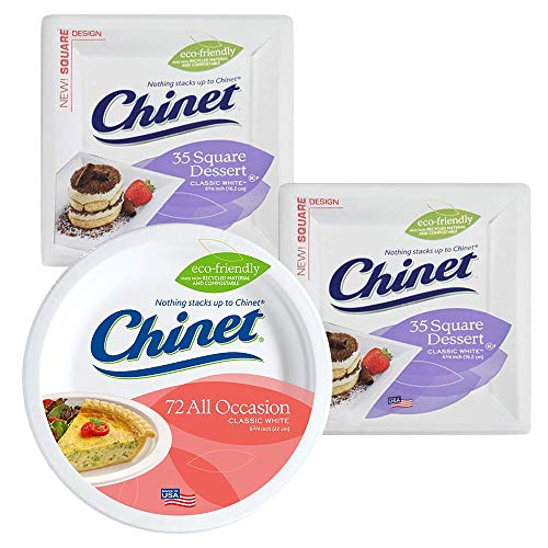 Chinet Classic White, 72 Count, 8.75 Inch Dinner, Lunch, and 70 Count Total Square Dessert, and Appetizer Plate Combo Package - 142 Total Count All Occasion Plates