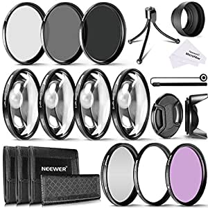 Neewer 58MM Camera Lens Filter Kit Includes 58MM Close up Filters(+1 +2 +4 +10),ND Filters(ND2 ND4 ND8) and UV CPL FLD Filters,Lens Hood and Other Accessories for Lenses with 58MM Filter Size