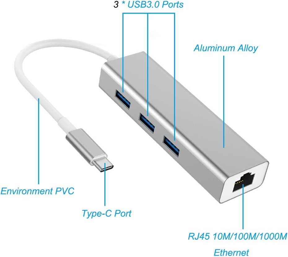 Yusion USB 3.1 Type C USB-C to 3-Port USB 3.0 Hub with RJ45 Gigabit Ethernet LAN Network Adapter For MacBook Pro Silver ChromeBook