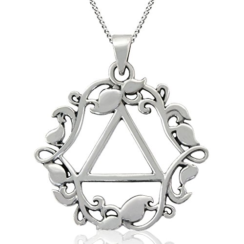 "Alcoholics Anonymous 1"" Solid Sterling Silver AA Vines and Leaf Pendant with Unity Symbol (18"" Sterling Silver Ladies Curb Chain)"