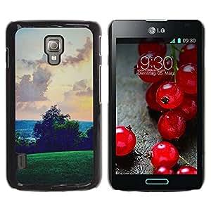 Paccase / SLIM PC / Aliminium Casa Carcasa Funda Case Cover - Green Hills Sky View Pink - LG Optimus L7 II P710 / L7X P714