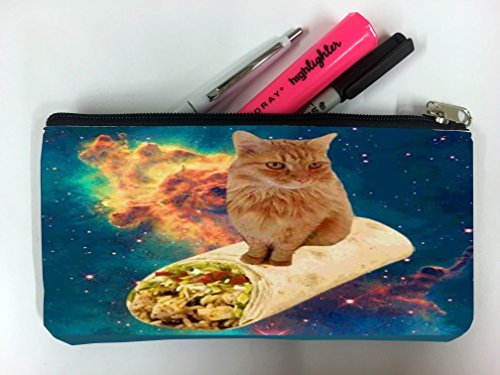 Kitty Flying on a Burrito Student Pen Pencil Case Coin Purse Pouch Cosmetic Makeup Bag
