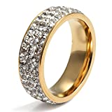 Women Stainless Steel Eternity Ring for Wedding Band Engagement Promise Gold 7mm Width