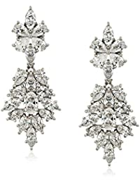 Platinum-Plated Sterling Silver Swarovski Zirconia Marquise Oval pear flower fashion Drop Earrings