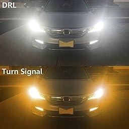 Partsam 2 x 3157 3456 3156 White 7000k Amber 3000k Switchback Front Turn Sginal Light Projector LED Super Bright +Resistors