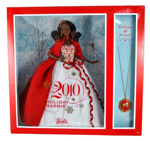Fabulous Chandelier Pendant Necklace - Barbie Collector Holiday Series Exclusive 12 Inch Doll Gift Set - Holiday Barbie 2010 in White Gown with Red and Gold-Studded Bodice Plus Extra Long Red Wrap, Chandelier Earrings and Magnificent Head Piece (African American Version - V8650) Plus Bonus Necklace with Red Color Pendant For You